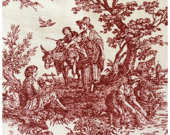 French Country Style Toile by Premier Prints Garnet Red on White