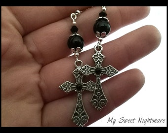 Earrings Gothic crosses pendants with silver and black glass beads