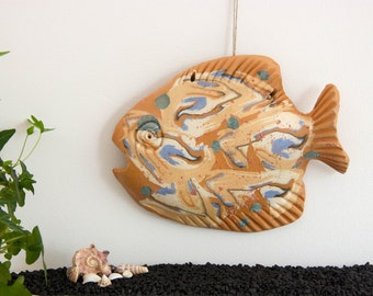 Wall Art decor Ceramic fish sculpture | Rustic home, room wall decoration | Fisherman gift | Fathers day gift | Gift for boss | Fish decor