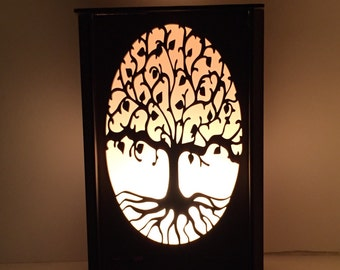 The ancient tree [glow] lamp - lamp - laser cut lamp - table lamp - tree of life - luminary - plug in lamp