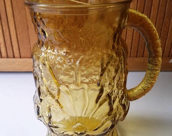 Vintage Amber Rainflower 64 Oz Pitcher by Anchor Hocking