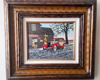 Vintage Americana H. Hargrove Nick's Service Station Serigraph Oil Painting