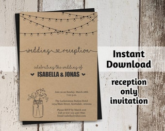 Ordinaire Reception Only Invitation Template   Printable Rustic Mason Jar U0026 Fairy  Lights Wedding Reception Invite