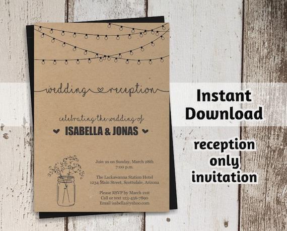 Reception Only Invitation Template Printable Rustic Mason