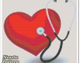 Heart Medical Cross Stitch Pattern, Heart Medical Home decor x stitch pattern, Cross stitch Embroidery, Embroidery pattern