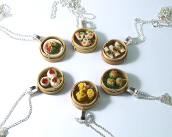 chinese take out dim sum necklace chinese food jewellery asian food necklace bento box mini dim sum necklace miniature food dim sum charm