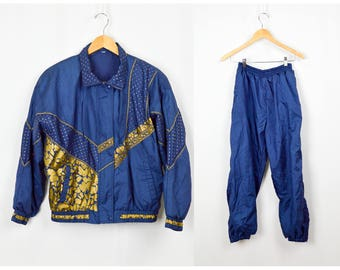 80s Windbreaker Track Suit, Vintage Clothing, 80s Clothing, Nylon Tracksuit, 80s Party Costume, Windsuit, Navy, Gold, Colorful, Hip Hop