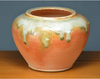 Orange Ceramic Vase, Hand Made Porcelain Pottery, Flower, Unique Gift Mom, Wedding, Vessel, Wheel Thrown, Terracotta | Caldwell Pottery