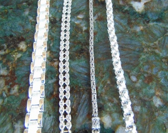 Awesome Deal, Very Nice Diverse Style Sterling Silver Bracelets, Collection of Four, See details and Photos
