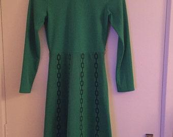 Festive green 1960's vintage dress size 12 made by Davisella of England