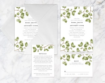 Printable Wedding Invitation Set, Green Foliage Leaves Twigs Botanical Wedding Invitation Set, Plant Leaf Green Brown Wedding Invitation Set