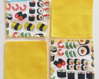 Cotton Sushi themed coasters
