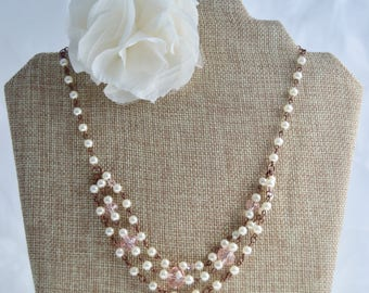 Pink Crystal and Pearl Copper Chain Necklace, Pink Necklace, Vintage Look, Vintage Wedding,