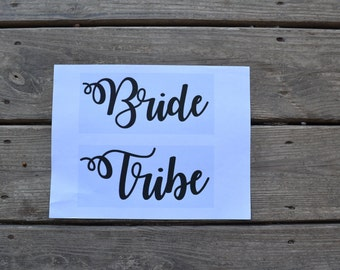 Set of Bride and Tribe Vinyl Iron-On Decal~ Glitter Iron-On Vinyl Decal~ Iron-On Vinyl Decal