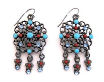 Vintage Dreamcatcher Dangle Earrings Turquoise Red Blue Flowers