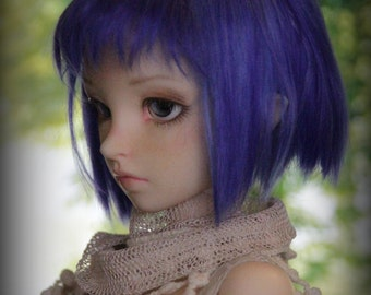 Blue alpaga wig for minifée, short, blue