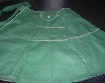 Green Apron White Trim Handmade Vintage