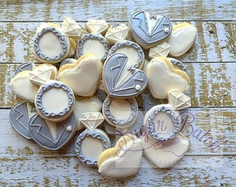 2 Dozen Mini Bride and Groom Decorated Cookies Set
