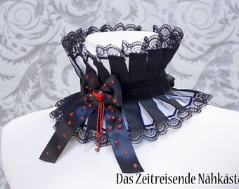 Lace collar, choker, with glass beads and rhinestones, Gothic, Lolita, Vampire