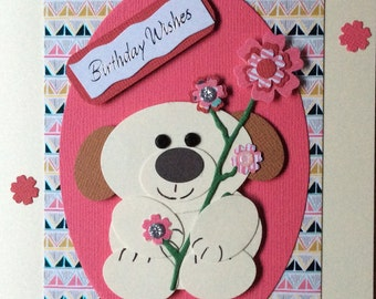Puppy in Pink Birthday card
