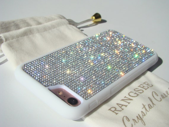 iPhone 8 / iPhone 7 Case Clear Diamond  Rhinestone Crystals on iPhone 7 White Rubber . Velvet/Silk Pouch Bag Included,