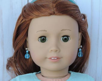 Aqua Blues Earrings for American Girl and other 18 inch dolls