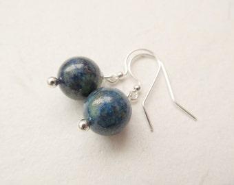 Chrysocolla earrings, silver earrings, chrysocolla jewelry