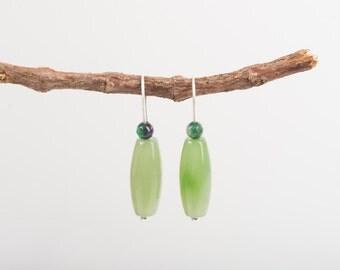Long Jade Russian earrings, silver earrings, green earrings, jade and agate earrings, green, handmade, long earrings