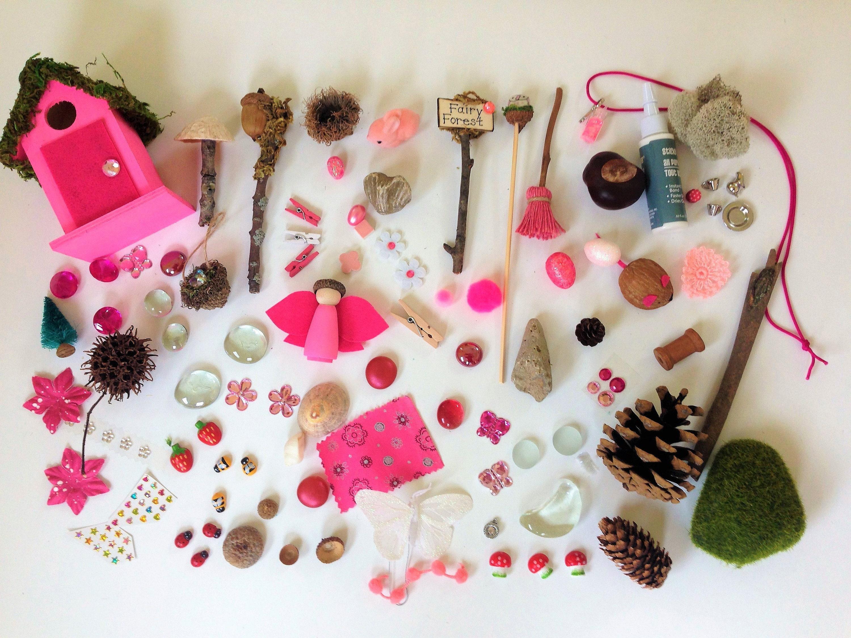 Garden house kit - Fairy Garden Accessories Fairy Garden Miniatures Fairy Garden Kit Pink Fairy House Fairy Garden House Kit Handmade Rustic Miniatures