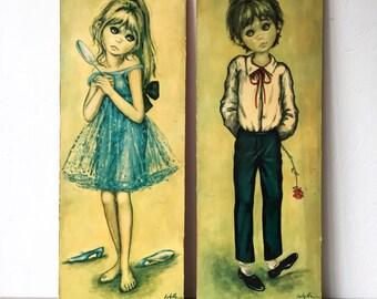 Vintage Big Eyed / Eyes Children/Kids Print On Board Boy And Girl By Jolylle.F - Idylle.F Vintage 60's Kitch Mid century