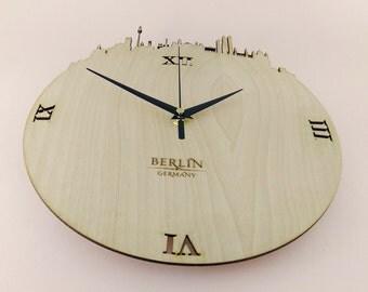 """Wooden wall clock - World cities """" BERLIN """""""