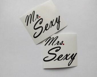 Mr. Sexy-Mrs. Sexy, yeti cup decal,mug decal,car decal,window decal,laptop,phone decal