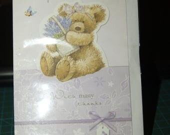 Acceptance Card  With Many Thanks  Teddy with Lavendar