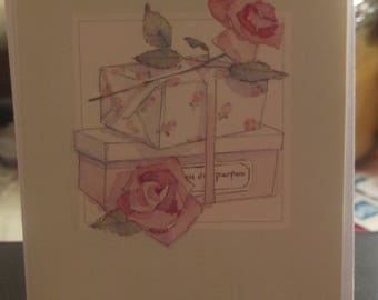 Notelet 2 Roses and Parcels
