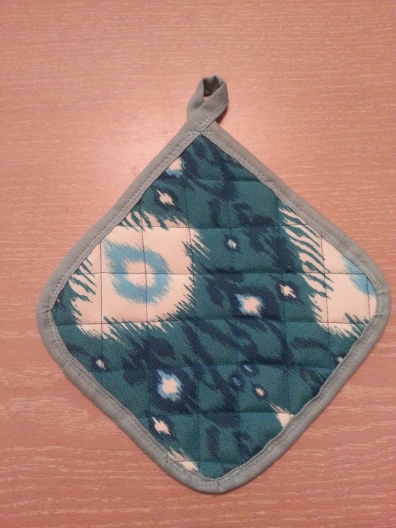 "Handmade "" Turquoise Geo Print "" Potholders"