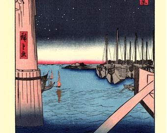 "Japanese Ukiyo-e Woodblock print, Hiroshige, ""Tsukudajima from Eitai Bridge"""