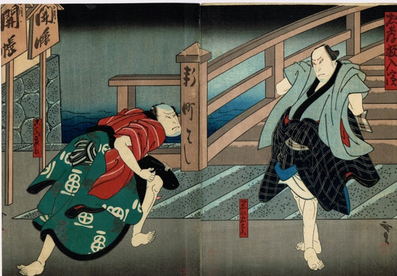 Japanese original Ukiyo-e Woodblock print, Gosotei Hirosada, Edo-period, Kamigata Ukiyo-e