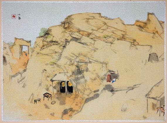 "Japanese antique print, Takeuchi Seihō, ""Yellow River, Cave dwelling"""