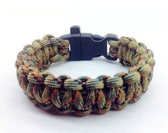 Paracord Bracelet Treestand camo with Whistle Handmade Camo Survival Hiking Hunting USA Made