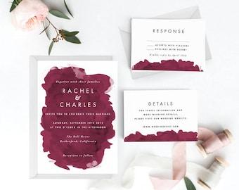 Modern Burgundy Wedding Invitation Suite, Wedding Invitation Printable, Invitation Set,Wedding Invitation,PDF Letter or A4 (Item code: P421)