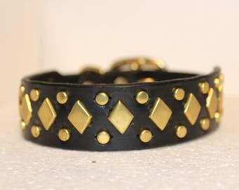Leather Dog Collar, Latigo Leather, dog, pet,brass, nickel, custom, handcrafted, studs, metal spots, thick leather dog collar