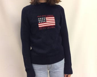90s Vintage Polo Jeans Co. Flag Knit Sweater