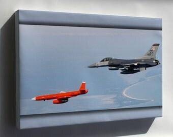 Canvas 24x36; Mqm-107E Streaker Drone In Flight Alongside F-16 Fighting Falcon