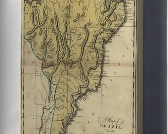 Canvas 24x36; Map Of Brazil, Now Called New Portugal 1814