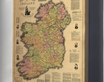 Canvas 24x36; Home Rule Map Of Ireland 1893