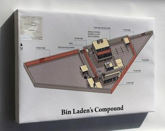 Canvas 24x36; Osama Bin Laden Compound Hideout Compound