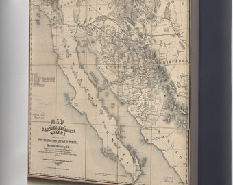 Canvas 16x24; Map Gadsden Purchase Sonora Baja California 1858