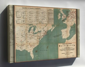 Canvas 16x24; Immigration Map Of United States 1853 In German