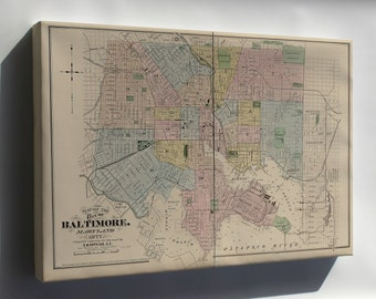 Canvas 16x24; Map Of The City Of Baltimore, Maryland 1878