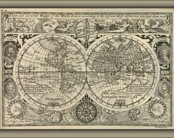 16x24 Poster; Map Of The World 1628